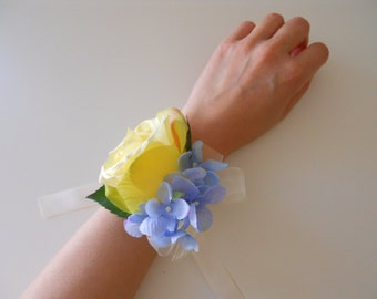 Yellow Roses Wrist Corsage with Blue Hydrangea and Rhinestone Accent