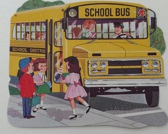 Vintage Back To School Bus Kids Fall Autumn Die Cut