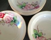 A set of 6 vintage pink cabbage rose, cottage chic bowls, Rose china, Japan