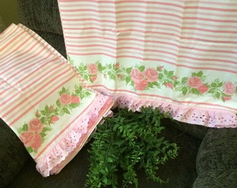 VINTAGE pair Standard new pillowcases so shabby chic,  pink cabbage rose and lace