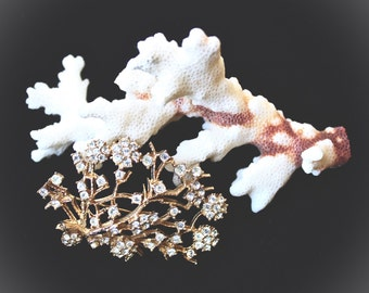 Vintage Brooch Gold Rhinestones - CINER - Tree Brooch - Collectibles Jewelry FREE SHIPPING
