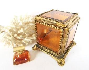 Amber Glass Vintage Jewelry Box - Jewelry Box - Ormolu - Jewelry Storage -