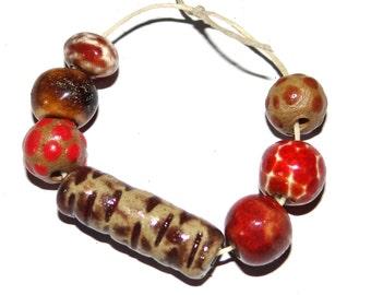 Ceramic Bead Set Stoneware Handmade Pottery Beads Rustic Red Birch