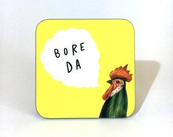 New Melamine Coaster Bore Da Welsh Good Morning Cockerel Bright Yellow