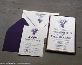 Vineyard Winery Wedding Invitation Sample | Flat or Pocket Fold Style