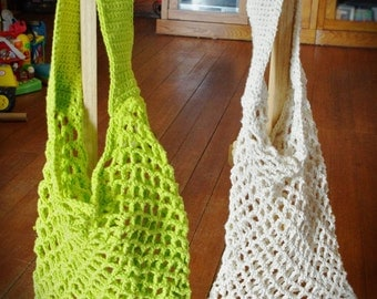 Crochet Market Bag - COLOR CHOICES AVAILABLE - Cotton Tote - Beach Bag - Hand Crocheted - 100% Cotton