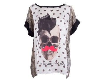 SUPER SALE Box top, skull print top, satin and chiffon tshirt, one size, satin blouse, printed top, printed tshirt