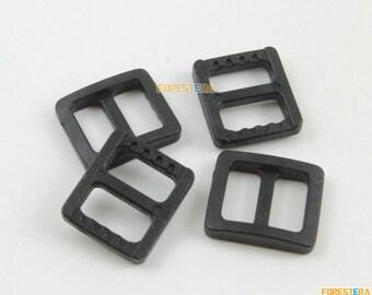 200 Pieces 10mm Black Plastic Tri-Glide Slider Adjustable Buckle for Bag Backpack Strap (RBCNO66)