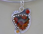 Poppy jasper pendant necklace.  carnelian and citrine.  hand made one of a kind.