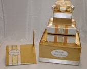 Gold and Ivory Wedding Card Box with matching Guest Book-crystals/rhinestone accents