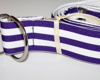 "Purple and White Belt Striped Ribbon Belt Mens Purple Belt PLus Size Belt Purple Striped Belt Wide Ribbon Belt Preppy Adult Belt 1.5"" Belt"