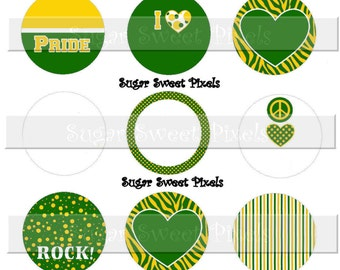 INSTANT DOWNLOAD Blank Green  Gold School Mascot  1 inch Circle Bottlecap Images 4x6 sheet