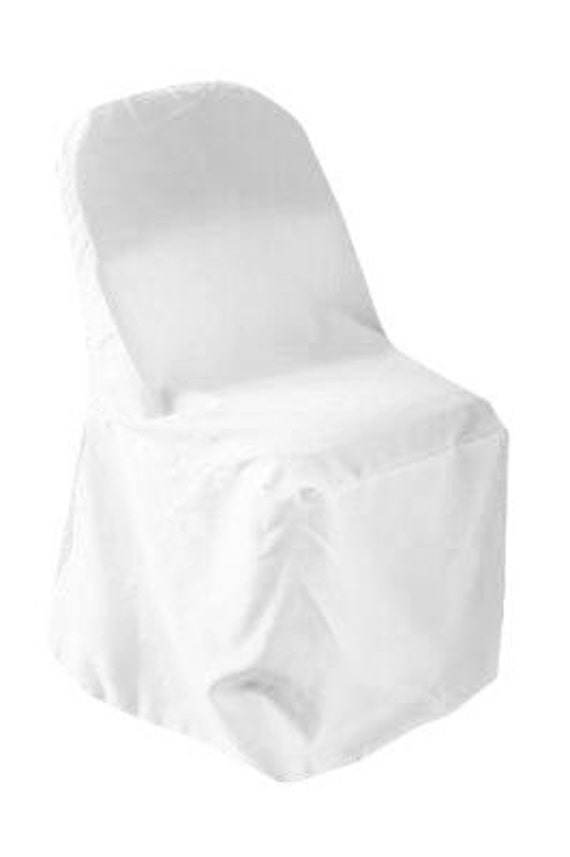 White Polyester Folding Chair Cover