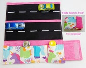Unicorn Print fabric Car Wallet/ Car roll up/Toy car holder/ Free Shipping/ Ready to ship.