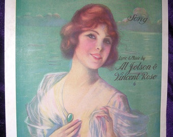 PRETTY GIRL Vintage Sheet Music 1920 AVALON by Jolson & Rose Artist: Frederick Manning