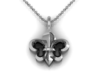 Fleur de Lis Charm Necklace in 14k White Yellow Rose Gold, personalization option | made to order for you within 5-7 business days
