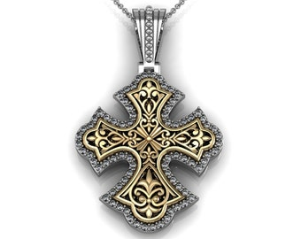 Diamond Fleur de Lis Cross Pendant Necklace in 14k Gold 0.76ct | made to order for you within 5-7 business days