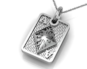 Ace of Diamonds Pendant Necklace in 14k or 18k White Yellow Rose Gold | made to order for you within 5-7 business days