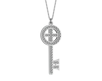 Diamond Round Key Necklace in 14k White Yellow Rose Gold accented by 46 diamonds 0.92 ct | made to order for you within 5-7 business days