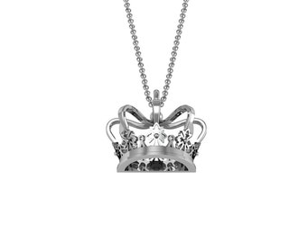 Royal Crown Cross Pendant Necklace in 14k White Yellow Rose Gold | made to order for you within 5-7 business days