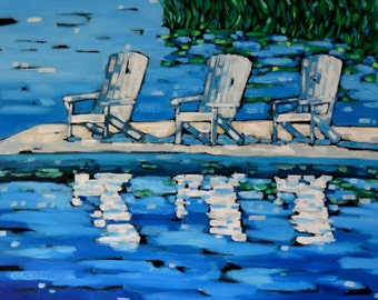 Adirondack Chairs Print from the original painting, home decor, wall art,