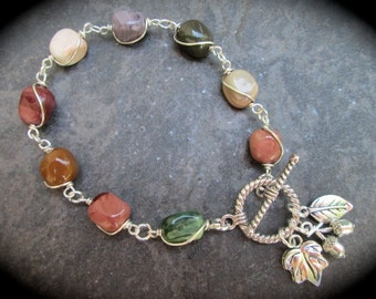 "Imperial Jasper wire wrapped bracelet with toggle clasp and Fall charms Beautiful Fall Colored Gemstones! 7"" or 8"""