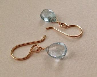 Aquamarine Earrings in Gold