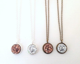 Little Druzy Necklace.  Faux Druzy Small Bronze or Silver.