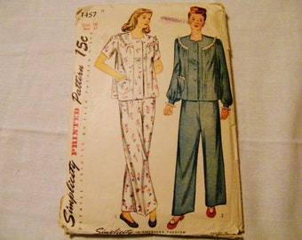 Vintage Sewing Pattern, Simplicity 1457, Vintage 30s 40s Pajamas, Lingerie Sewing Pattern,   size 16 Bust 34