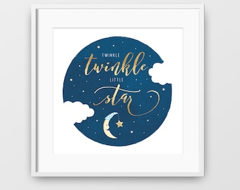 Twinkle Twinkle Little Star, Nursery Art, Twinkle Twinkle Little Star Print, Star Print, Childrens Art, Printable Wall Art, Instant Download