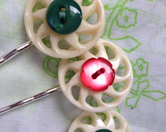 Set of Three Bobby Pins with Red, Green, and White Buttons