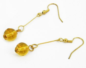 Dangle Earrings, Drops of Sunshine, Goldtone, Glass Beads, French Wires