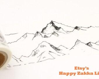 Mountain Sketch - Japanese Washi Masking Tape - 25mm Wide - 5.5 Yards