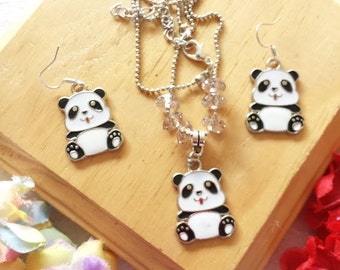 Panda Set of Necklace and Earrings