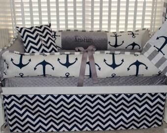 5 pc baby beddin set Nautical bedding set, custom crib bedding, navy chevron, nautical , navy anchor , nautical nursery