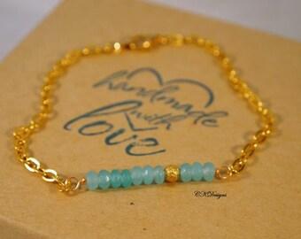 Minimalist Beaded bracelet, Delicate Chain Bracelet,  Beaded Chain Bracelet, Gift for Her,  OOAK Handmade Bracelet. CKDesigns.US