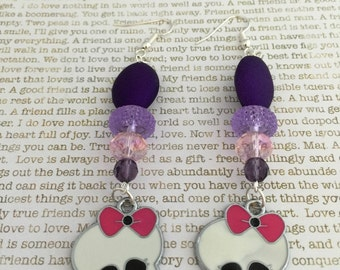 Sugar Skull Earrings - OOAK - Made With Czech Crystals In Pink and Purple With Sugar Skull Beads Day of the Dead Teen Monster High Inspired