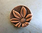 Antique Copper Flower Button, 17mm Diameter, Shank Button, Metal Button, JBB Findings