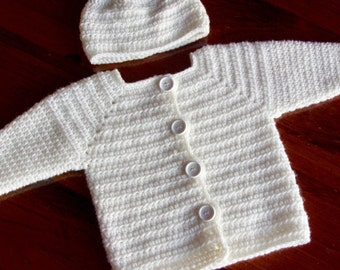 Baby Baptism Sweater Set, Baby Girls Sweater, Christening Handmade Baby Sweater Set, 3 / 6 Months Size