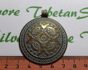 1 pcs per pack of 45 mm 4mm bail Flower Pendant in Patina Antique Bronze Lead Free Pewter