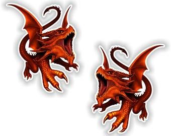 2x Red Dragons Stickers for Laptop Book Fridge Guitar Motorcycle Helmet ToolBox Door PC Boat #18