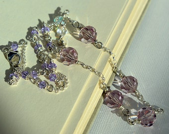 Purple Crystal Necklace, Purple Swarovski Necklace, Light Purple Necklace, Sterling Necklace, Beaded Chain Necklace, Wire Wrapped, Violet