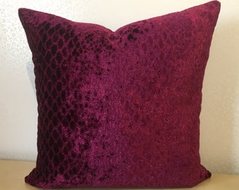 Accent square cushion cover in SNAKESKIN DESIGN VELVET berry Magenta pink from Osborne & Little. Python fabric cover made by MoGirl Designs.