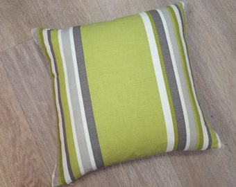 Bright SUMMERTIME GREEN -Lime or Zest cushion cover with Putty Mocha & White stripes in John Lewis CARDELIA  stripe cotton/linen fabric
