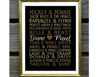 Gold Leaf Style Disney Famous Couples Art Print, Wedding gift, couples gift, anniversary gift