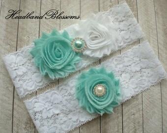 Beautiful Bridal Garter Set - WHITE Keepsake & Toss Wedding Garters - Chiffon Flower Rhinestone Garters - Tiffany Blue - Garders