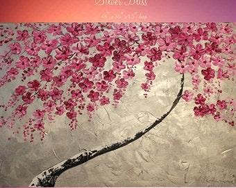 Sale Oil Landscape painting Abstract Original Modern 48x36 palette knife Blossom Tree oil  impasto oil painting by Nicolette Vaughan Horner