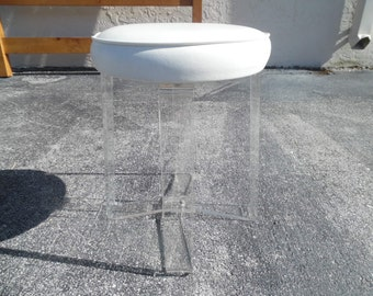 CLEAR COOL STOOL / Labeled Rialto CrissCross Base Lucite Stool / Wonderful Condition / Mid Century Modern