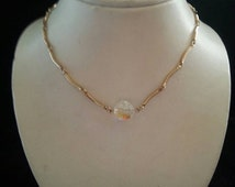 Now On Sale Retro gold tone Sarah Coventry glass bead 1960s mid century necklace choker
