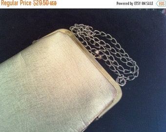 Christmas In July Sale 1960's Vintage Shiny Gold Purse Clutch Handbag Sale